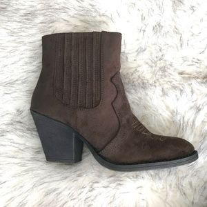 Brown Western Style Ankle Bootie